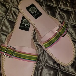Yellow box pink slip ons